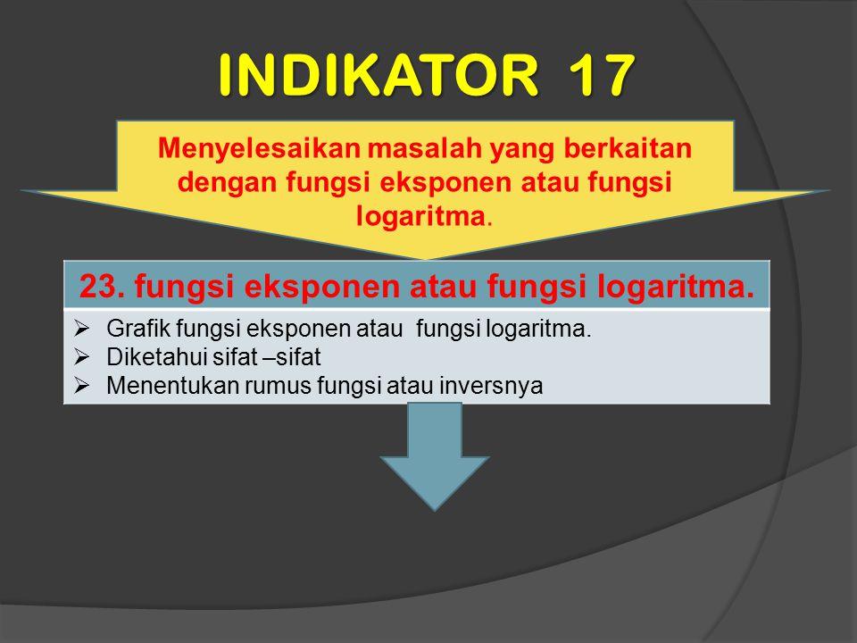 INDIKATOR 17 Menyelesaikan masalah yang berkaitan dengan fungsi eksponen atau fungsi logaritma. 23. fungsi eksponen atau fungsi logaritma.  Grafik fu