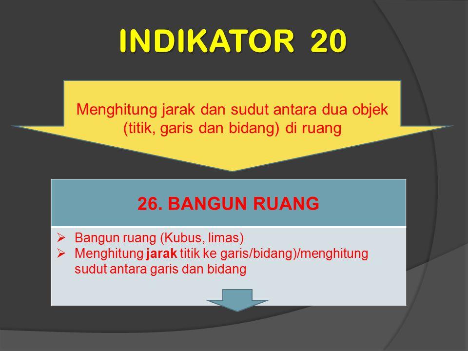 INDIKATOR 20 Menghitung jarak dan sudut antara dua objek (titik, garis dan bidang) di ruang 26. BANGUN RUANG  Bangun ruang (Kubus, limas)  Menghitun