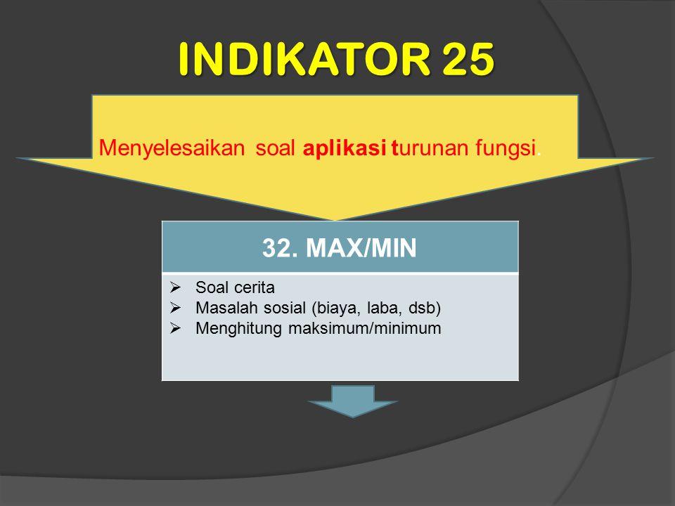 INDIKATOR 25 Menyelesaikan soal aplikasi turunan fungsi. 32. MAX/MIN  Soal cerita  Masalah sosial (biaya, laba, dsb)  Menghitung maksimum/minimum