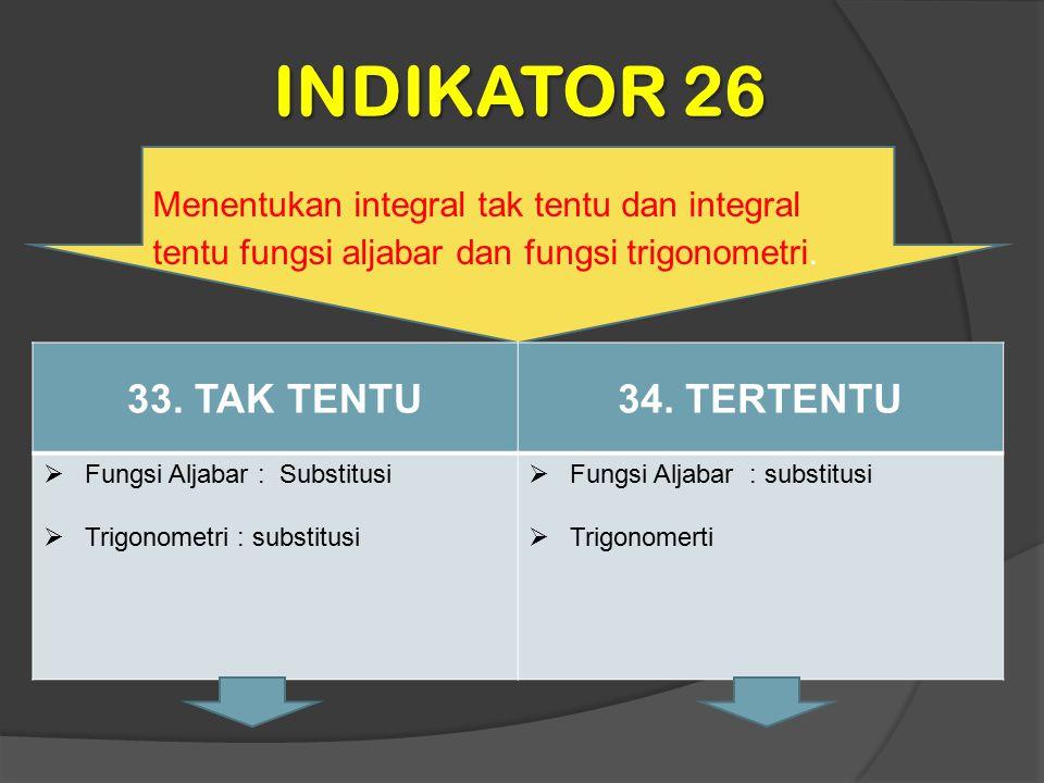 INDIKATOR 26 Menentukan integral tak tentu dan integral tentu fungsi aljabar dan fungsi trigonometri. 33. TAK TENTU34. TERTENTU  Fungsi Aljabar : Sub