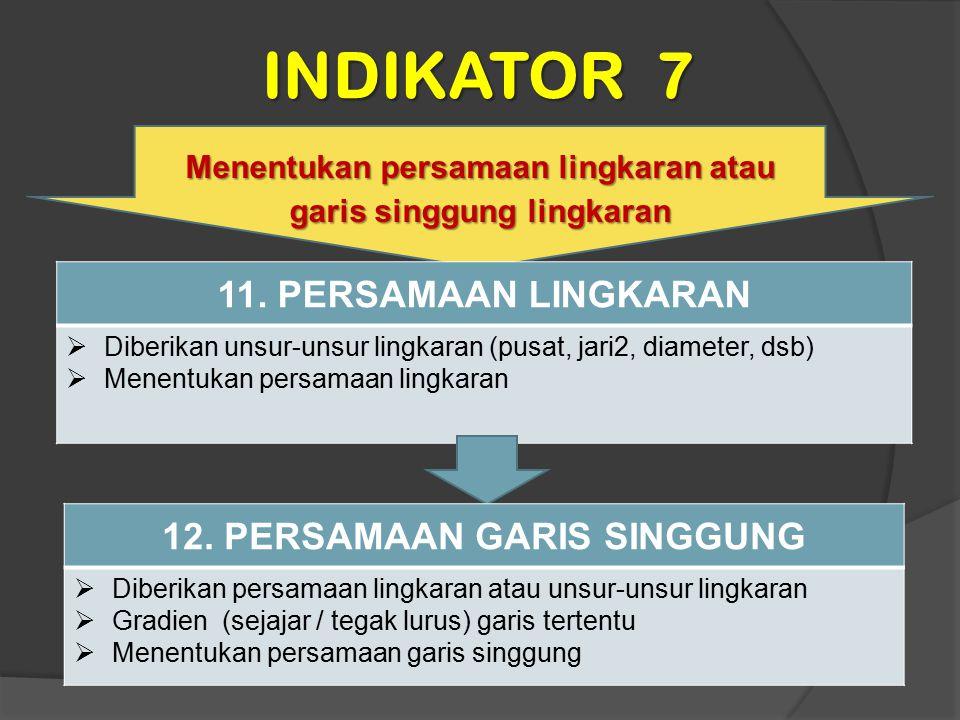 INDIKATOR 7 Menentukan persamaan lingkaran atau garis singgung lingkaran 11. PERSAMAAN LINGKARAN  Diberikan unsur-unsur lingkaran (pusat, jari2, diam
