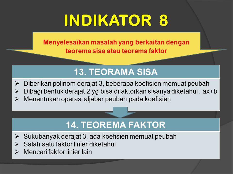 INDIKATOR 8 Menyelesaikan masalah yang berkaitan dengan teorema sisa atau teorema faktor 13. TEORAMA SISA  Diberikan polinom derajat 3, beberapa koef