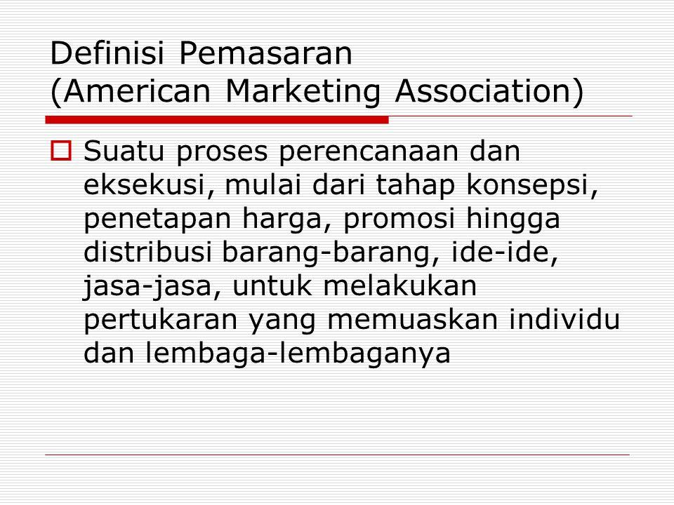 Definisi Pemasaran (American Marketing Association)  Suatu proses perencanaan dan eksekusi, mulai dari tahap konsepsi, penetapan harga, promosi hingg