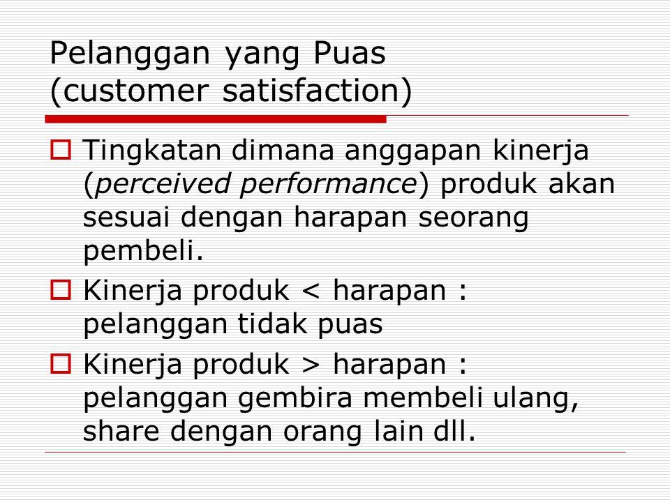 Pelanggan yang Puas (customer satisfaction)  Tingkatan dimana anggapan kinerja (perceived performance) produk akan sesuai dengan harapan seorang pemb