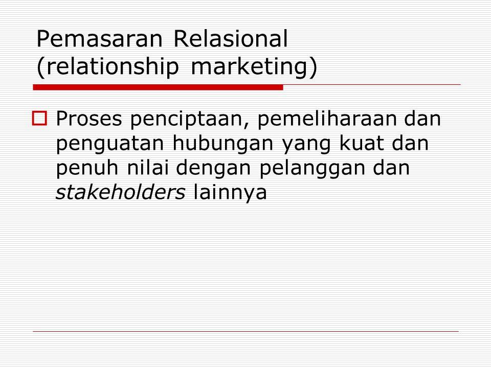 Pemasaran Relasional (relationship marketing)  Proses penciptaan, pemeliharaan dan penguatan hubungan yang kuat dan penuh nilai dengan pelanggan dan