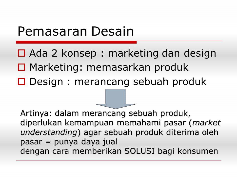 Pemasaran Desain  Ada 2 konsep : marketing dan design  Marketing: memasarkan produk  Design : merancang sebuah produk Artinya: dalam merancang sebu