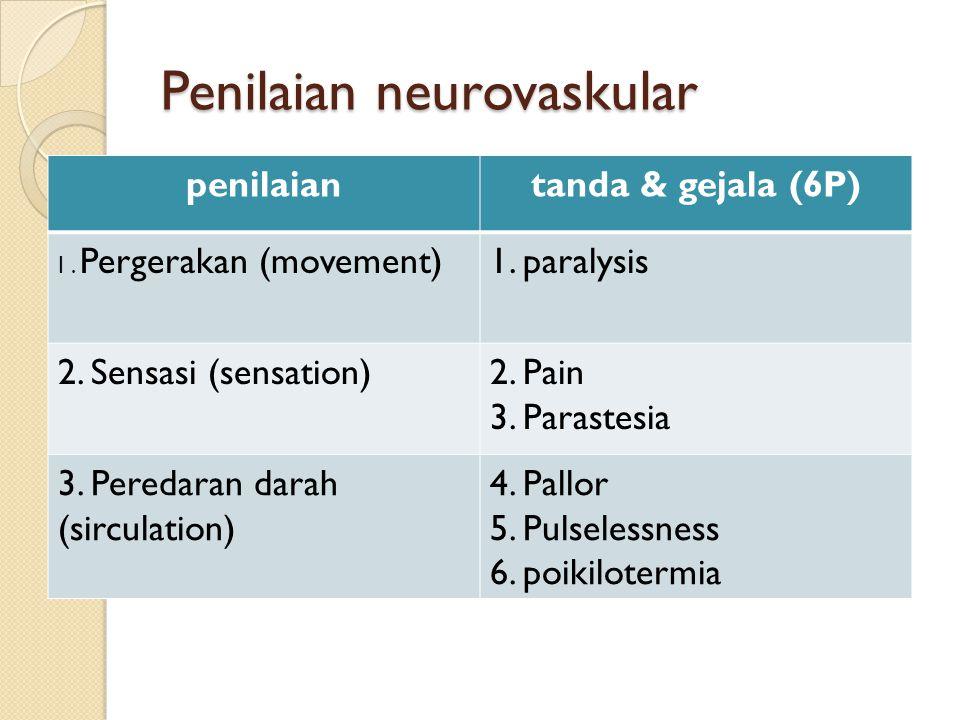 penilaiantanda & gejala (6P) I. Pergerakan (movement)1. paralysis 2. Sensasi (sensation)2. Pain 3. Parastesia 3. Peredaran darah (sirculation) 4. Pall