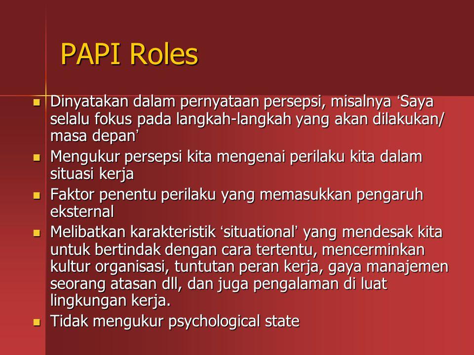 PAPI Roles Dinyatakan dalam pernyataan persepsi, misalnya ' Saya selalu fokus pada langkah-langkah yang akan dilakukan/ masa depan ' Dinyatakan dalam