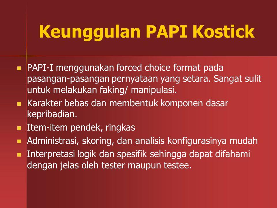 Keunggulan PAPI Kostick PAPI-I menggunakan forced choice format pada pasangan-pasangan pernyataan yang setara. Sangat sulit untuk melakukan faking/ ma