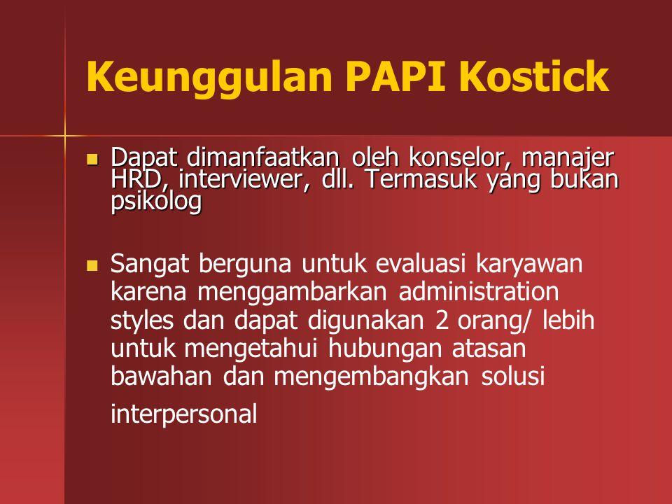 Keunggulan PAPI Kostick Dapat dimanfaatkan oleh konselor, manajer HRD, interviewer, dll. Termasuk yang bukan psikolog Dapat dimanfaatkan oleh konselor