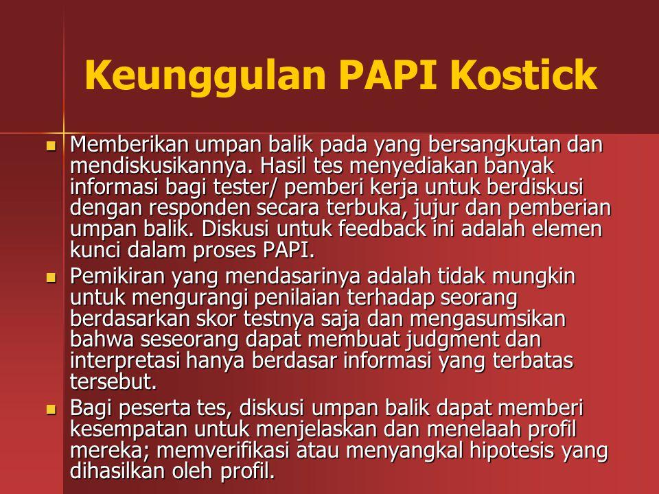 Keunggulan PAPI Kostick Memberikan umpan balik pada yang bersangkutan dan mendiskusikannya. Hasil tes menyediakan banyak informasi bagi tester/ pember
