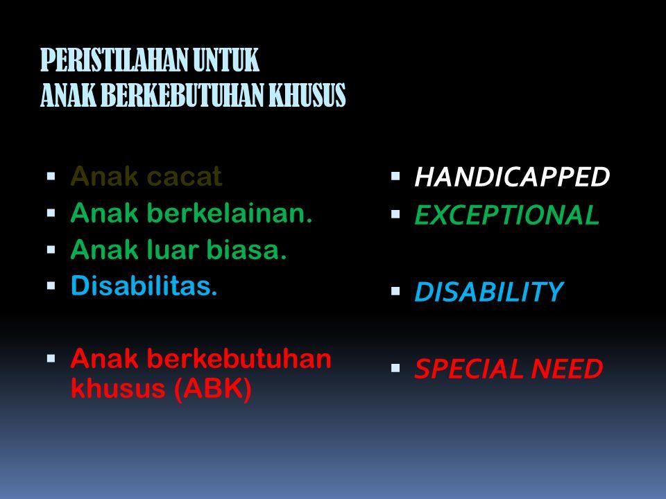 PERISTILAHAN UNTUK ANAK BERKEBUTUHAN KHUSUS  Anak cacat  Anak berkelainan.