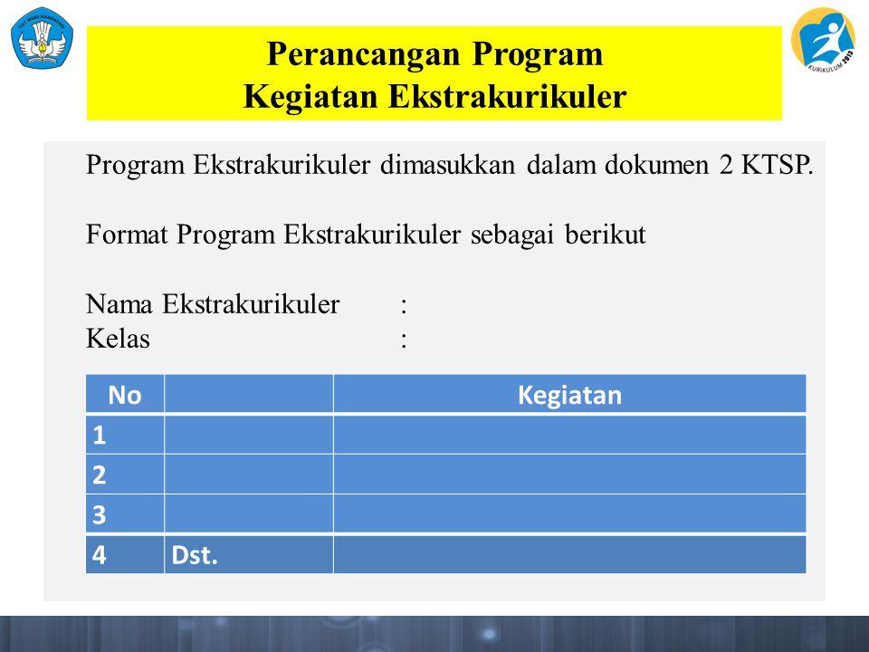 Perancangan Program Kegiatan Ekstrakurikuler Program Ekstrakurikuler dimasukkan dalam dokumen 2 KTSP.