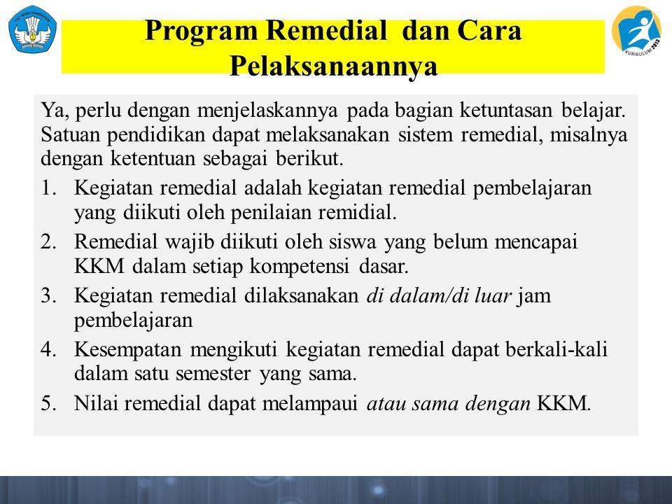 Program Remedial dan Cara Pelaksanaannya Ya, perlu dengan menjelaskannya pada bagian ketuntasan belajar.