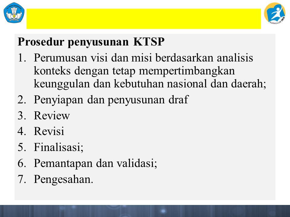 Prosedur penyusunan KTSP 1.Perumusan visi dan misi berdasarkan analisis konteks dengan tetap mempertimbangkan keunggulan dan kebutuhan nasional dan daerah; 2.Penyiapan dan penyusunan draf 3.Review 4.Revisi 5.Finalisasi; 6.Pemantapan dan validasi; 7.Pengesahan.