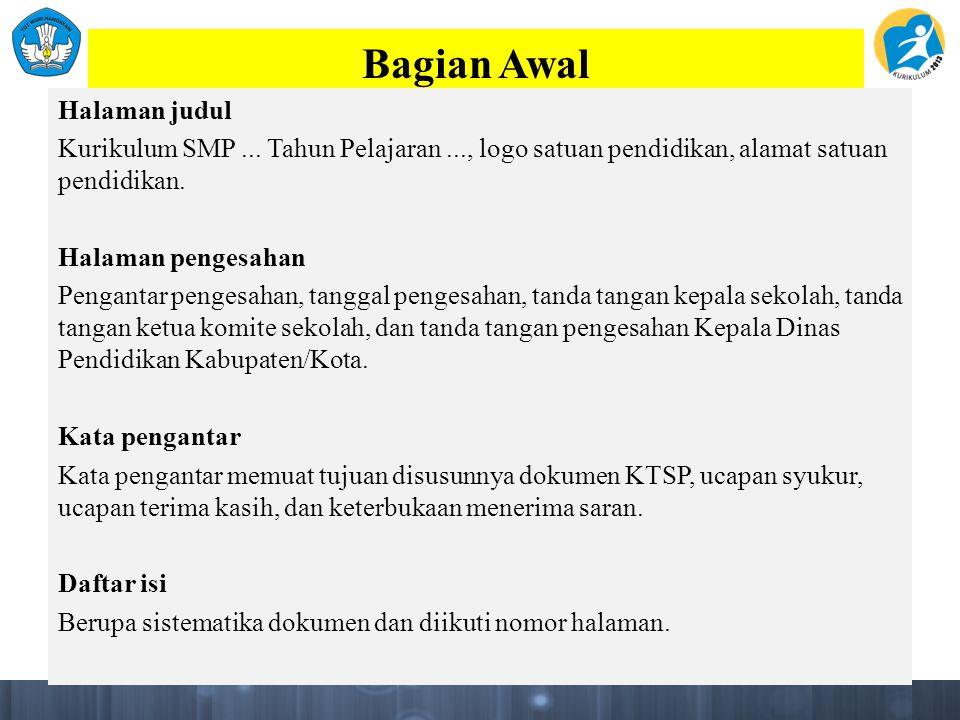 Bagian Awal Halaman judul Kurikulum SMP...