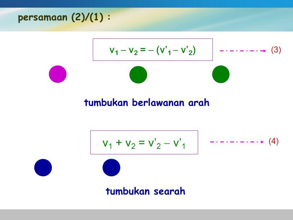 persamaan (2)/(1) : v 1  v 2 =  (v' 1  v' 2 ) tumbukan berlawanan arah (3) v 1 + v 2 = v' 2  v' 1 tumbukan searah (4)