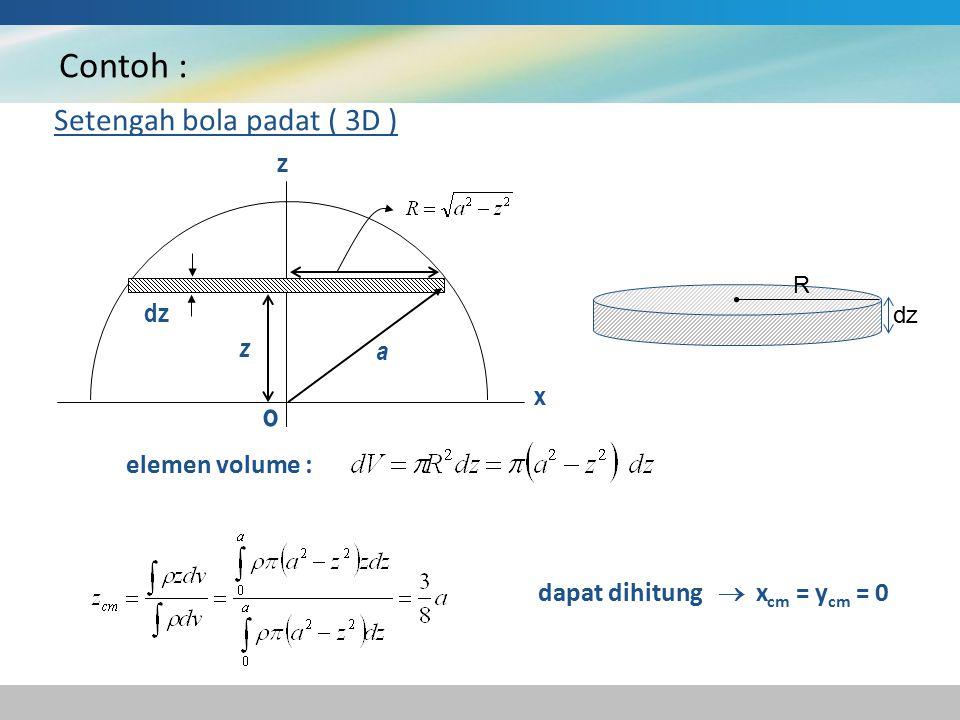 Contoh : Setengah bola padat ( 3D ) dz a z z x o elemen volume : dapat dihitung  x cm = y cm = 0 R dz