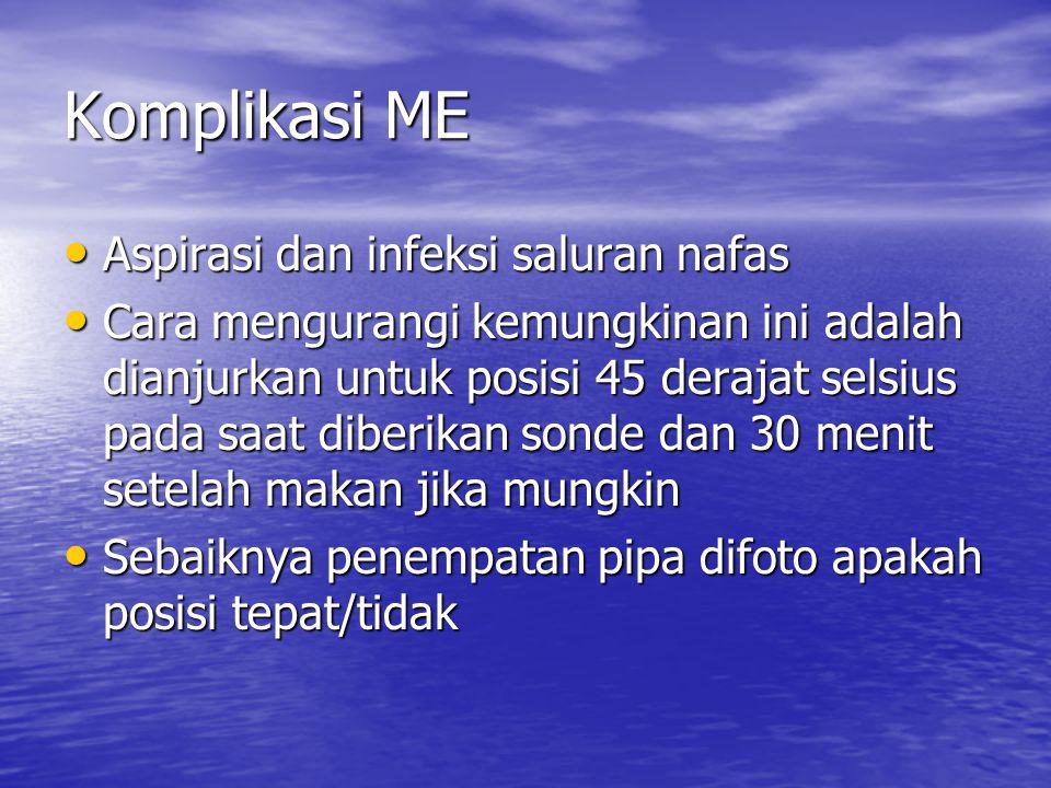 Komplikasi ME Aspirasi dan infeksi saluran nafas Aspirasi dan infeksi saluran nafas Cara mengurangi kemungkinan ini adalah dianjurkan untuk posisi 45