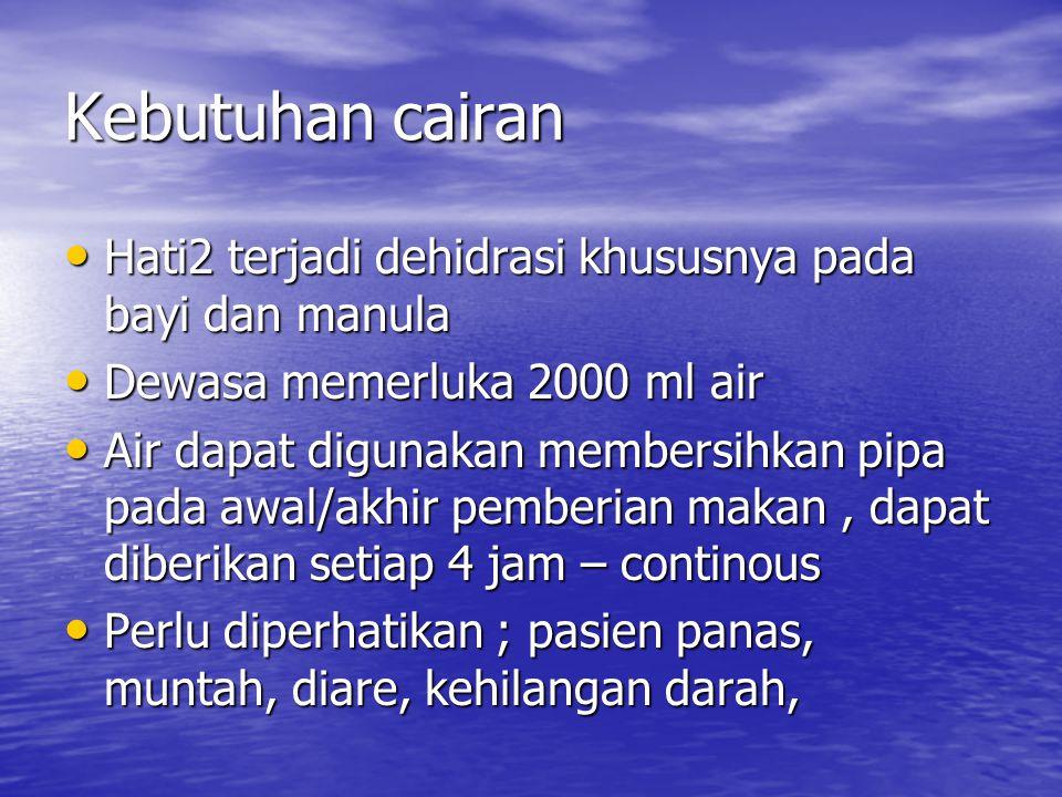 Kebutuhan cairan Hati2 terjadi dehidrasi khususnya pada bayi dan manula Hati2 terjadi dehidrasi khususnya pada bayi dan manula Dewasa memerluka 2000 m