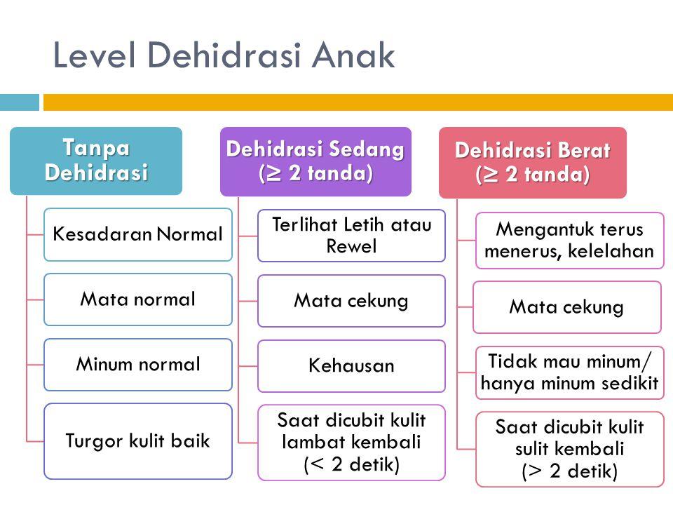 Level Dehidrasi Anak Tanpa Dehidrasi Kesadaran NormalMata normalMinum normal Turgor kulit baik Dehidrasi Sedang (≥ 2 tanda) Terlihat Letih atau Rewel