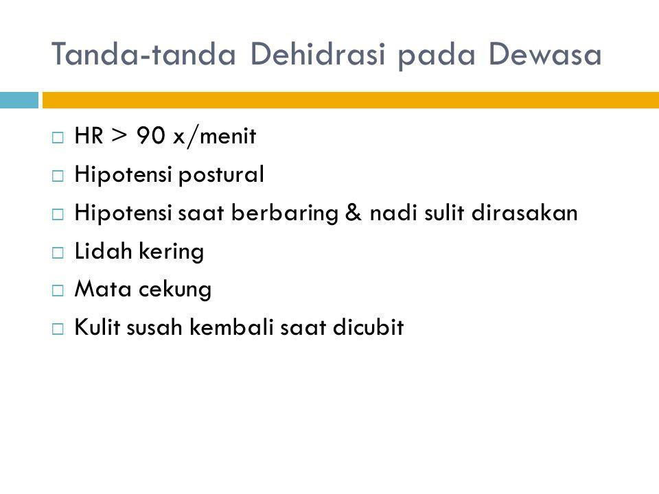 Tanda-tanda Dehidrasi pada Dewasa  HR > 90 x/menit  Hipotensi postural  Hipotensi saat berbaring & nadi sulit dirasakan  Lidah kering  Mata cekun
