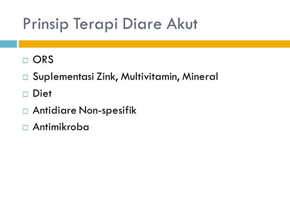 Prinsip Terapi Diare Akut  ORS  Suplementasi Zink, Multivitamin, Mineral  Diet  Antidiare Non-spesifik  Antimikroba