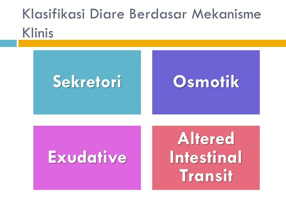 Klasifikasi Diare Berdasar Mekanisme KlinisSekretoriOsmotik Exudative Altered Intestinal Transit