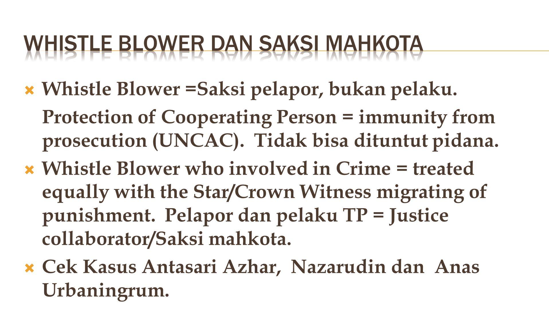  Whistle Blower =Saksi pelapor, bukan pelaku.
