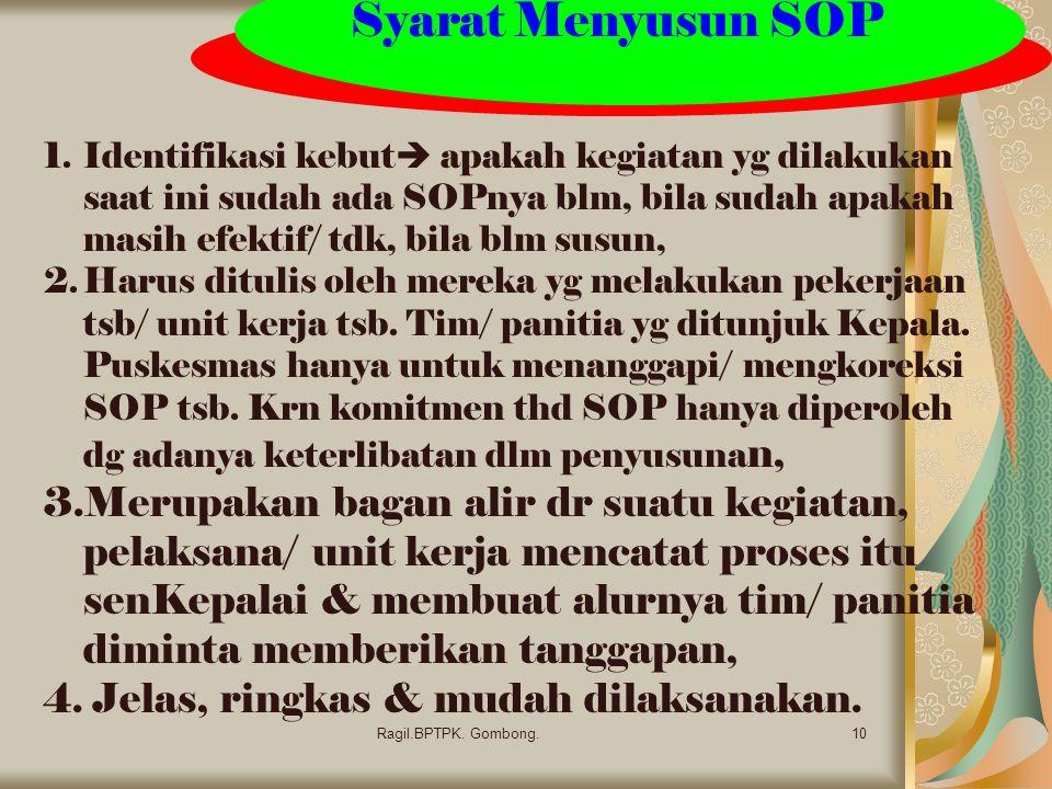 Syarat Menyusun SOP 10Ragil.BPTPK.Gombong.