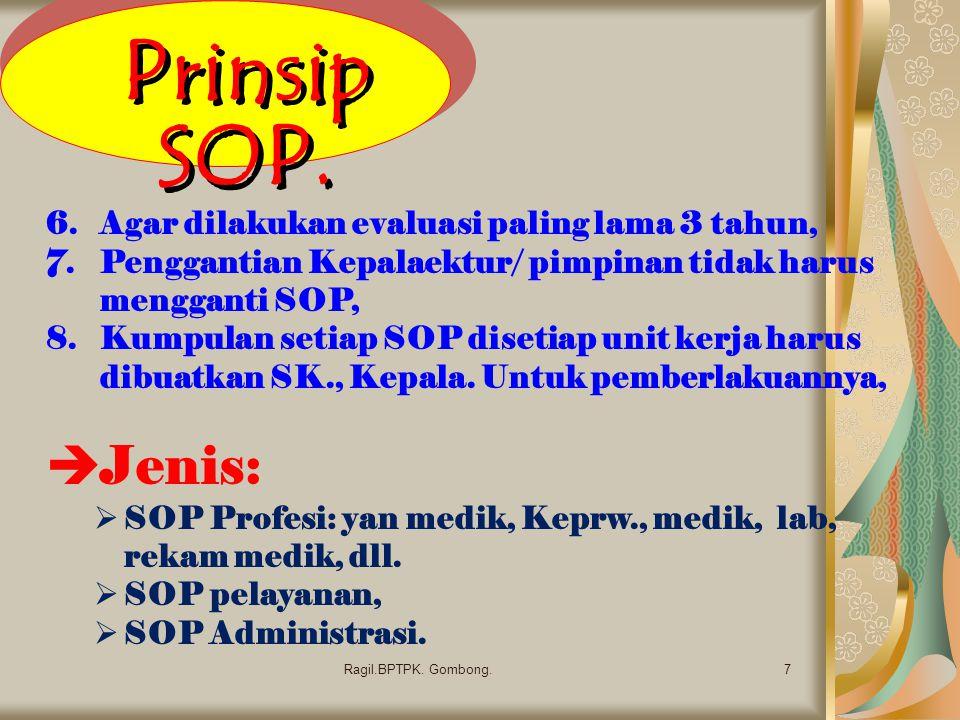 Prinsip SOP. 7Ragil.BPTPK. Gombong. 6.Agar dilakukan evaluasi paling lama 3 tahun, 7.Penggantian Kepalaektur/ pimpinan tidak harus mengganti SOP, 8.Ku
