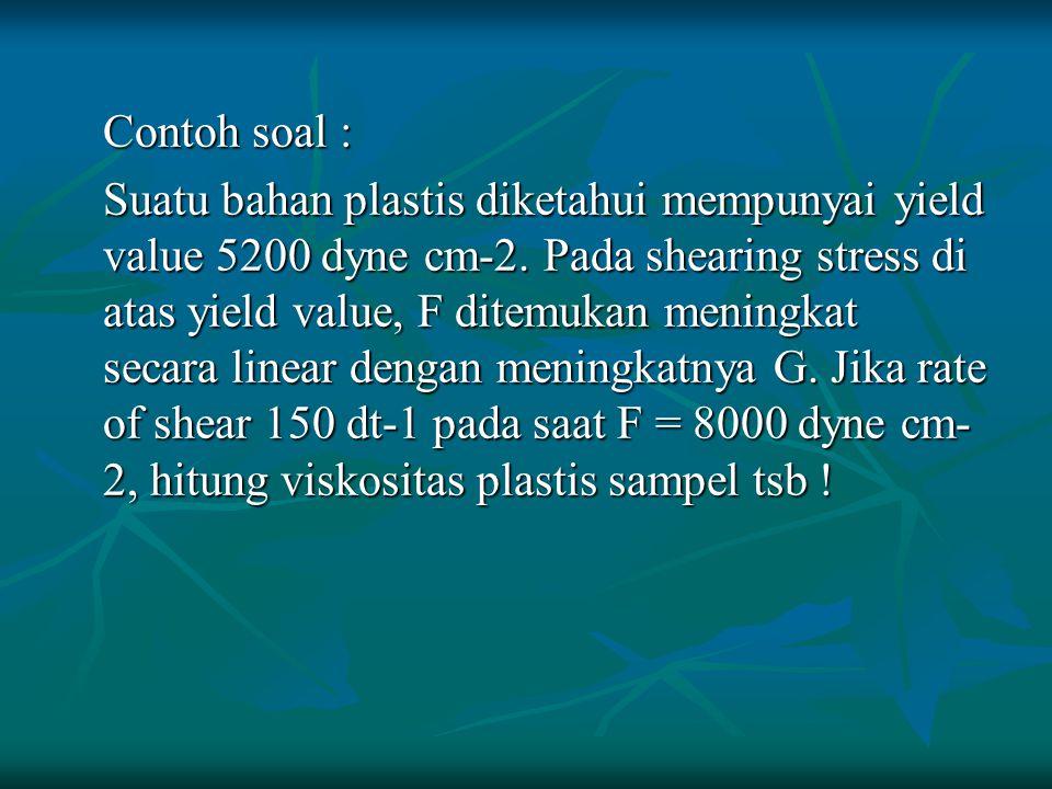 Contoh soal : Suatu bahan plastis diketahui mempunyai yield value 5200 dyne cm-2. Pada shearing stress di atas yield value, F ditemukan meningkat seca