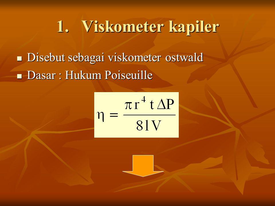 1.Viskometer kapiler Disebut sebagai viskometer ostwald Disebut sebagai viskometer ostwald Dasar : Hukum Poiseuille Dasar : Hukum Poiseuille