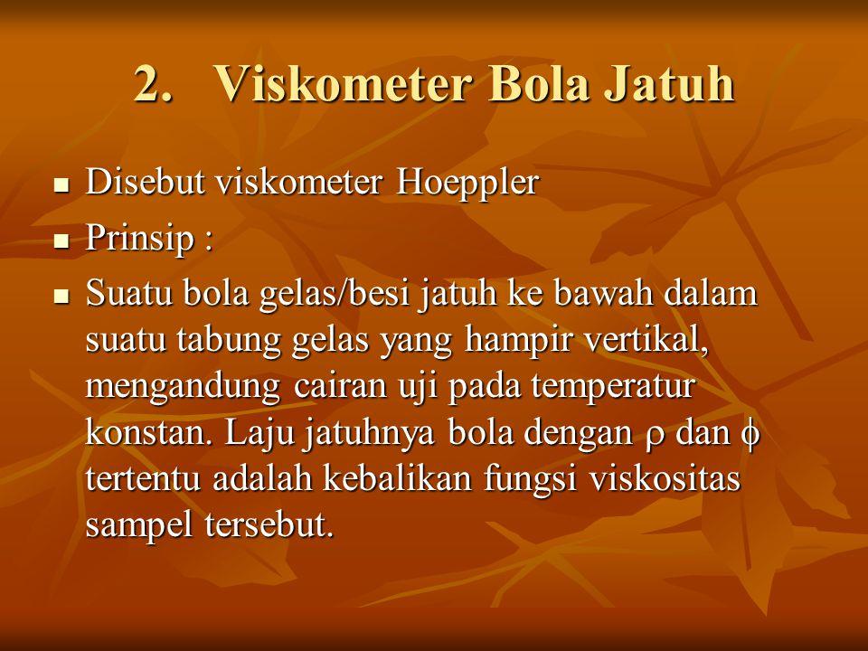 2.Viskometer Bola Jatuh Disebut viskometer Hoeppler Disebut viskometer Hoeppler Prinsip : Prinsip : Suatu bola gelas/besi jatuh ke bawah dalam suatu t