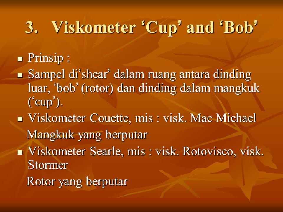 3.Viskometer ' Cup ' and ' Bob ' Prinsip : Prinsip : Sampel di ' shear ' dalam ruang antara dinding luar, ' bob ' (rotor) dan dinding dalam mangkuk (