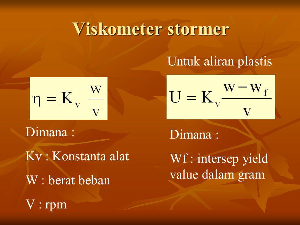 Viskometer stormer Dimana : Kv : Konstanta alat W : berat beban V : rpm Untuk aliran plastis Dimana : Wf : intersep yield value dalam gram