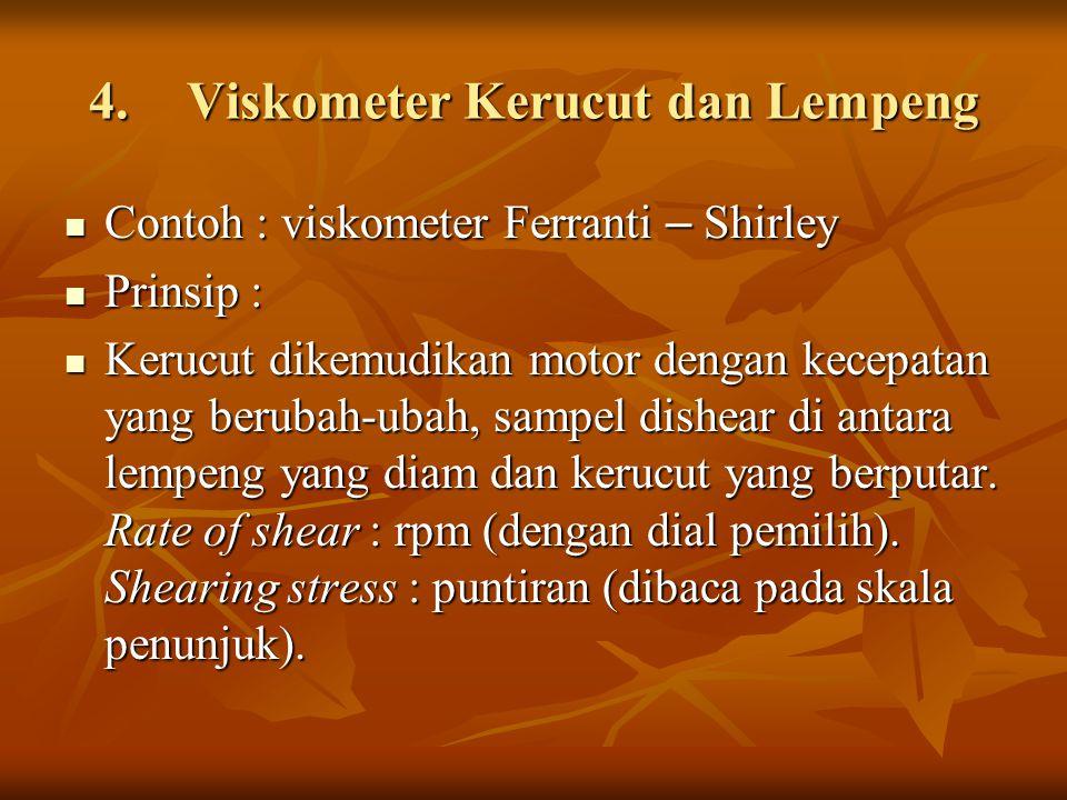 4.Viskometer Kerucut dan Lempeng Contoh : viskometer Ferranti – Shirley Contoh : viskometer Ferranti – Shirley Prinsip : Prinsip : Kerucut dikemudikan