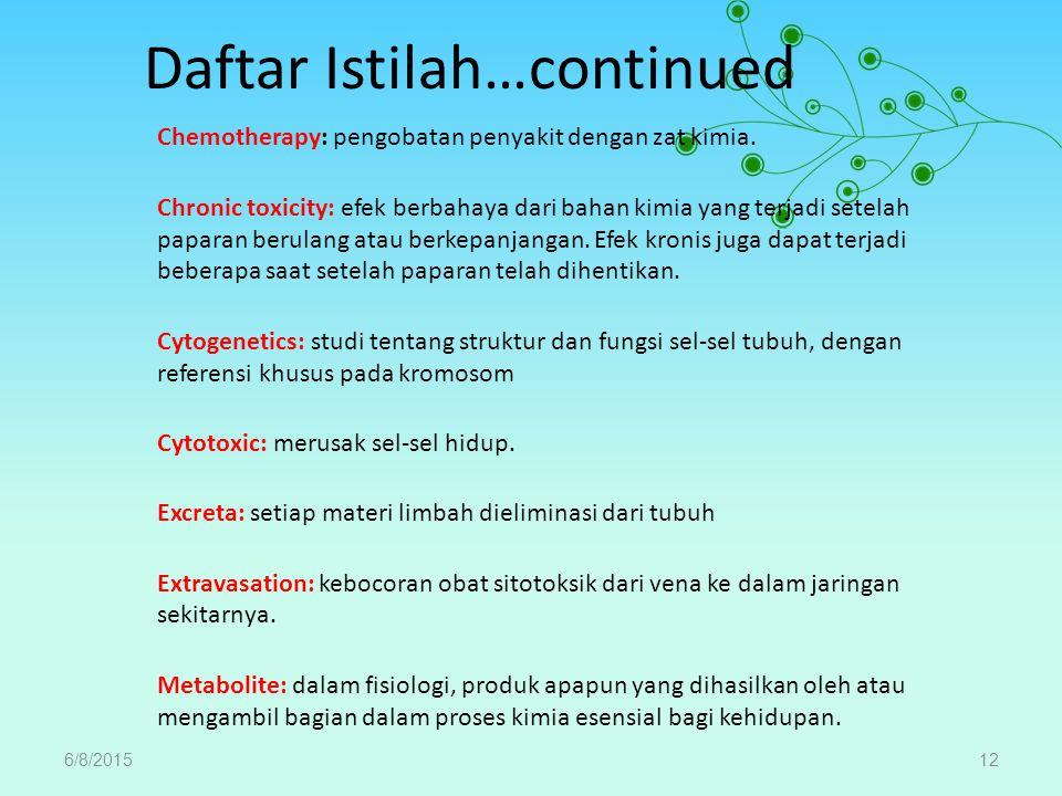 Daftar Istilah…continued Chemotherapy: pengobatan penyakit dengan zat kimia. Chronic toxicity: efek berbahaya dari bahan kimia yang terjadi setelah pa