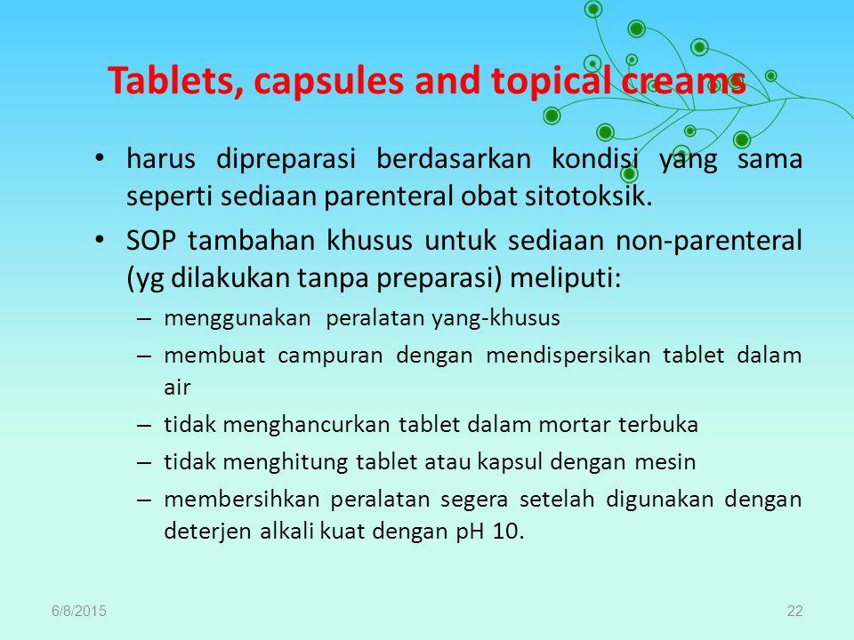 Tablets, capsules and topical creams harus dipreparasi berdasarkan kondisi yang sama seperti sediaan parenteral obat sitotoksik. SOP tambahan khusus u