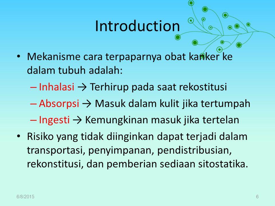 Introduction Mekanisme cara terpaparnya obat kanker ke dalam tubuh adalah: – Inhalasi → Terhirup pada saat rekostitusi – Absorpsi → Masuk dalam kulit