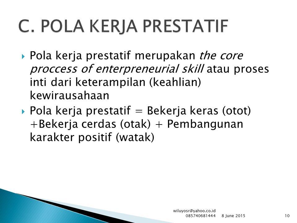  Pola kerja prestatif merupakan the core proccess of enterpreneurial skill atau proses inti dari keterampilan (keahlian) kewirausahaan  Pola kerja p