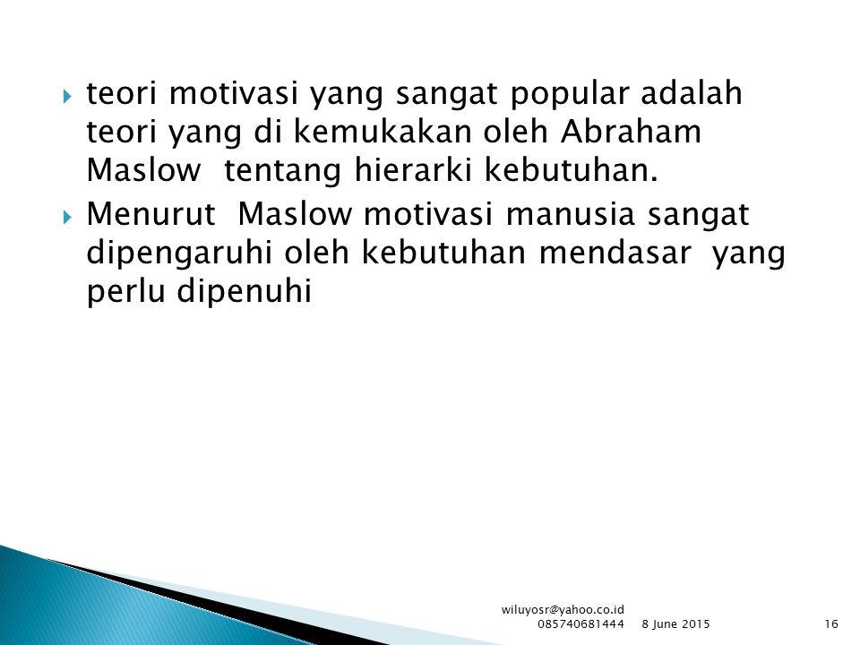  teori motivasi yang sangat popular adalah teori yang di kemukakan oleh Abraham Maslowtentang hierarki kebutuhan.  Menurut Maslow motivasi manusia s
