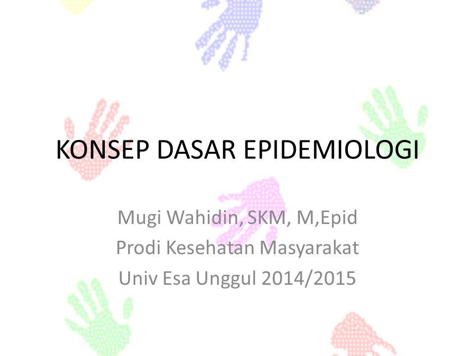 KONSEP DASAR EPIDEMIOLOGI Mugi Wahidin, SKM, M,Epid Prodi Kesehatan Masyarakat Univ Esa Unggul 2014/2015