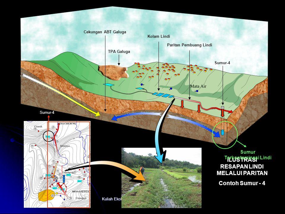 Kuliah Ekologi dan Analisis Sumberdaya Alam Sumur - 1 : Tercemar Ringan Indeks : 1, 013 Sumur - 2 : Tercemar Ringan Indeks : 1, 014 Sumur - 3 : Tercem