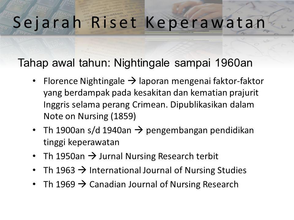 Florence Nightingale  laporan mengenai faktor-faktor yang berdampak pada kesakitan dan kematian prajurit Inggris selama perang Crimean. Dipublikasika