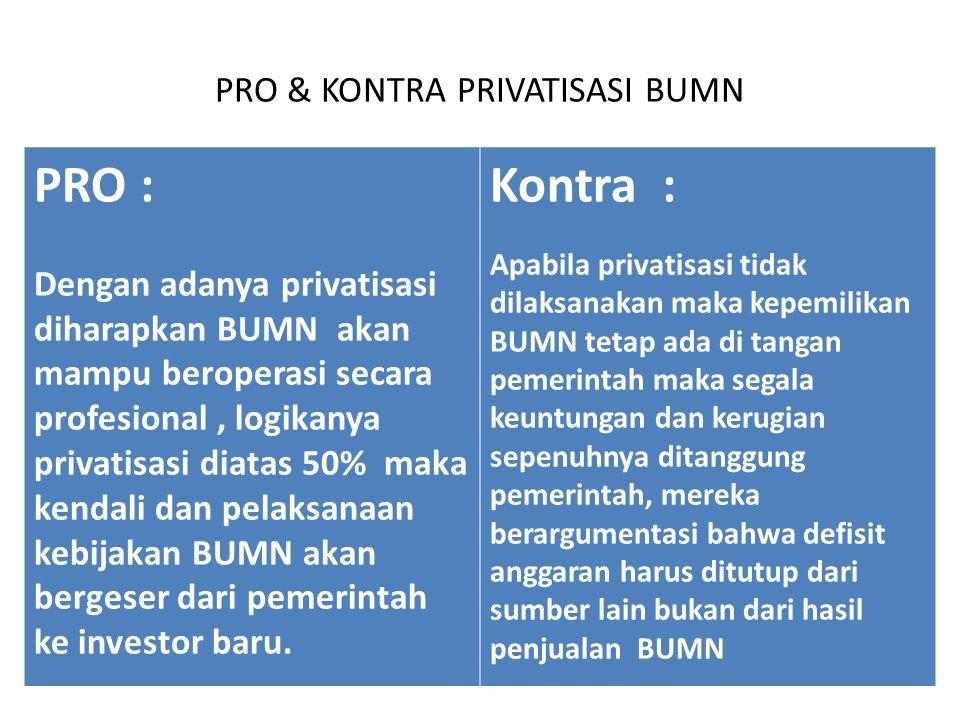 PRO & KONTRA PRIVATISASI BUMN PRO : Dengan adanya privatisasi diharapkan BUMN akan mampu beroperasi secara profesional, logikanya privatisasi diatas 5