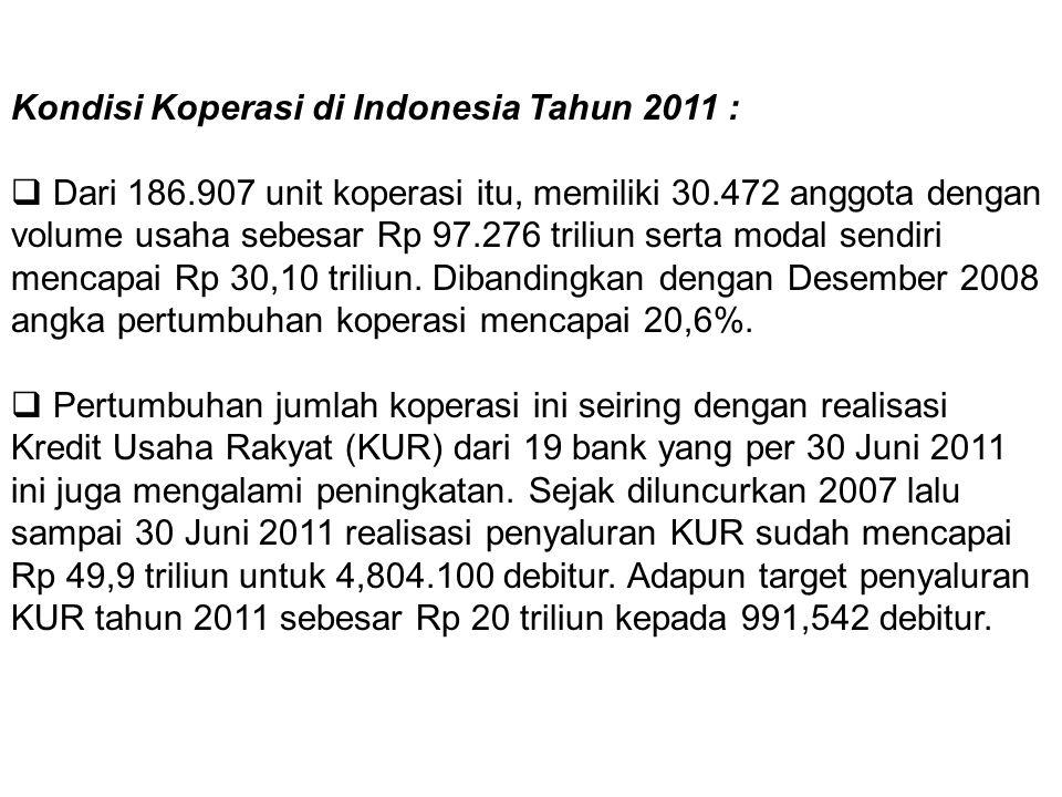 Kondisi Koperasi di Indonesia Tahun 2011 :  Dari 186.907 unit koperasi itu, memiliki 30.472 anggota dengan volume usaha sebesar Rp 97.276 triliun ser