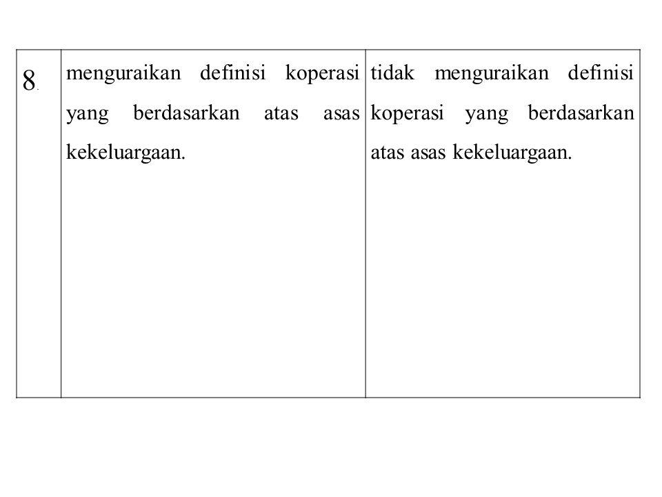 8.8. menguraikan definisi koperasi yang berdasarkan atas asas kekeluargaan. tidak menguraikan definisi koperasi yang berdasarkan atas asas kekeluargaa