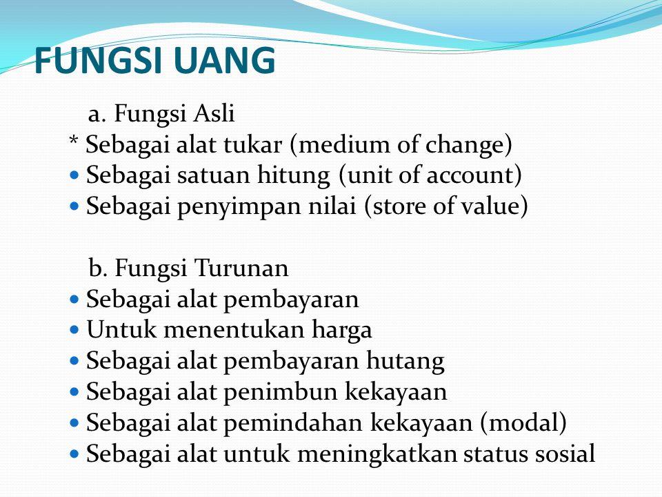 FUNGSI UANG a. Fungsi Asli * Sebagai alat tukar (medium of change) Sebagai satuan hitung (unit of account) Sebagai penyimpan nilai (store of value) b.