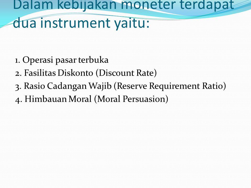 Dalam kebijakan moneter terdapat dua instrument yaitu: 1. Operasi pasar terbuka 2. Fasilitas Diskonto (Discount Rate) 3. Rasio Cadangan Wajib (Reserve